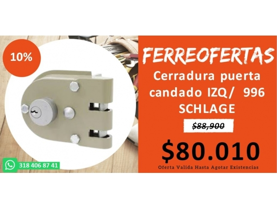 Cerradura Puerta Candado Izq/ 996 Schlage