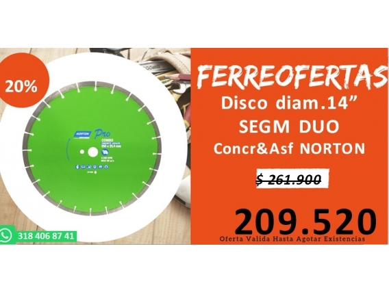 Disco Diam.14 Segm Duo Concreto - Asfalto Norton
