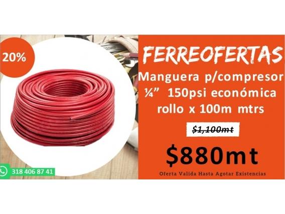 Manguera Bicolor Fénix Caucho-Lona Rollo Completox100Mt