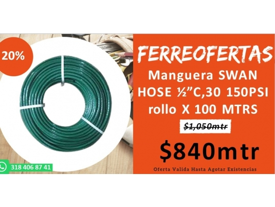 Manguera Swan Hose C,30 150Psi Rollo X 100 Mtrs